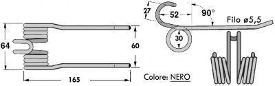 Immagine di DENTE/MOLLA H=165 - L=60/64 - Filo ø5,5 - Punte PIEGATE