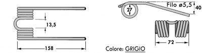 Immagine di DENTE/MOLLA H=158 - L=75 - Filo ø5,5 - Punte PIEGATE (Attacco Stretto mm. 13,5)