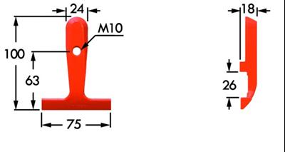 Immagine di Guidalama Inferiore Esterno Singolo per Dente Smontabile