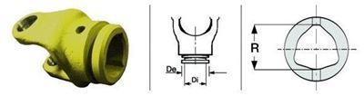 Immagine di Forcella Per Tubo a Profilo Triangolare con Crociera da 23,8 x 61,3
