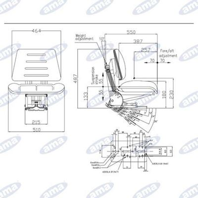 Immagine di Sedile con molleggio verticale largo 480 con 5 regolazioni di inclinazione