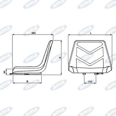 Immagine di Sedile serie Quattro con guide larghezza 485 mm