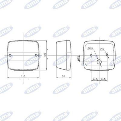Immagine di Fanale destro alogeno posteriore 108X103mm - AMA