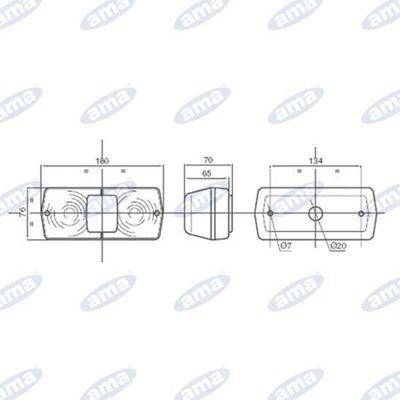 Immagine di Fanale alogeno posteriore Destro 184X79mm - AMA