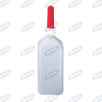 Immagine di Bottiglia biberon da 2 litri per allattamento vitelli con tettarella rossa - AMA