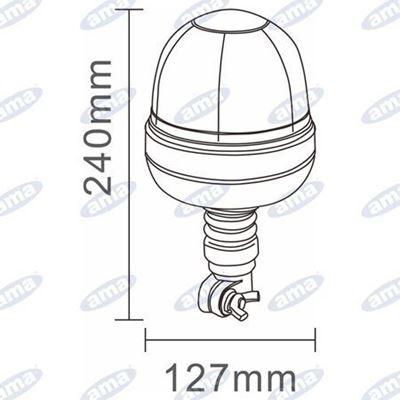 Immagine di Lampeggiante a Led 12/24V Base flessibile con attacco ad asta Serie GEA - AMA