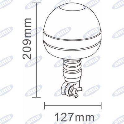Immagine di Lampeggiante a Led 12/24V a base flessibile con attacco ad asta Serie ATENA - AMA
