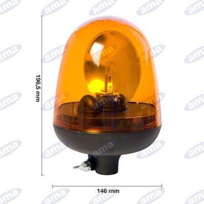 Immagine di Girofari arancio con attacco ad asta 12/24 V Serie One - AMA