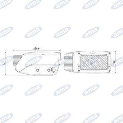 Immagine di Proiettore Sinistro 265X120mm con indicatore di direzione - AMA