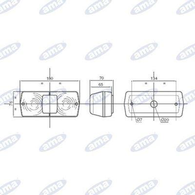 Immagine di Fanale alogeno posteriore Sinistro 184X79mm - AMA