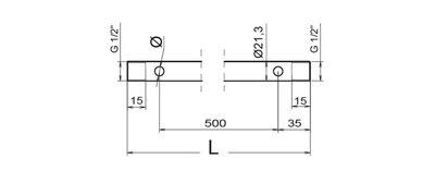 "Immagine di Aste inox AISI 304 Ø1/2"" per barre da diserbo L 1070mm con 3 fori asta"