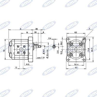 Immagine di Pompa ad ingranaggio Gruppo 1  Standard  Destra da 2,5 cc- AMA