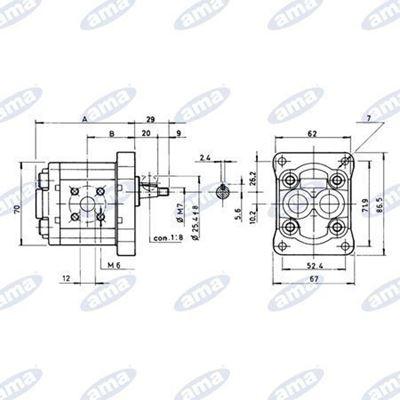 Immagine di Pompa ad ingranaggio Gruppo 1  Standard  Sinistra da 2,5 cc- AMA