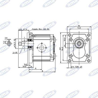 Immagine di Pompa ad ingranaggio Sinistra Gruppo 2 da 4,1 cc Made in Italy - AMA