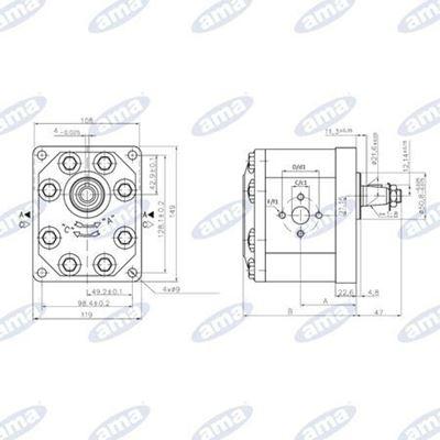 Immagine di Pompa ad ingranaggio Sinistra da 32 cc Gruppo 3 Standard A72X - AMA