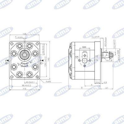 Immagine di Pompa ad ingranaggio Destra da 32 cc Gruppo 3 Standard C72X - AMA