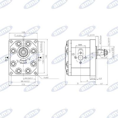 Immagine di Pompa ad ingranaggio Sinistra da 42 cc Gruppo 3 Standard A94X  - AMA