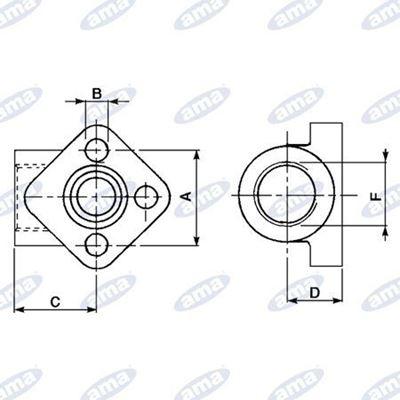 """Immagine di Flangia a 3 fori 1"""" 1/4"""" per pompe complete di """"OR"""" viti e rondelle L. 62mm- AMA"""