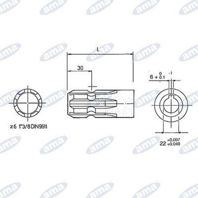 """Immagine di Presa di forza 1""""3/8 per pompa ad ingranaggi Lunghezza 100 mm - AMA"""