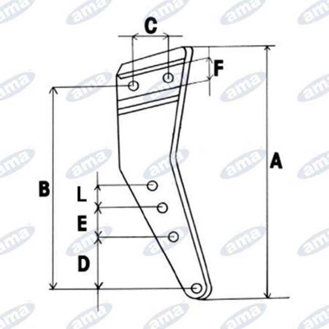 Immagine di Gambo per corpo aratro compatibile  Nardi 00 BTF scalpello interno Dx - AMA