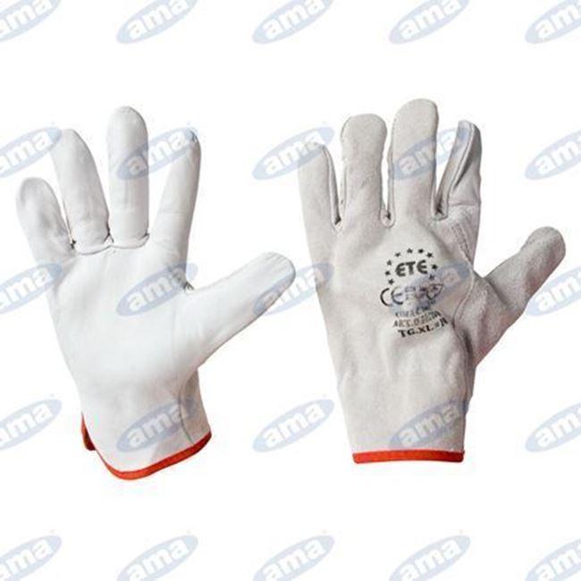 Immagine di Guanto in pelle fiore orlato con polso elasticizzato TG  10 XL - 12PZ