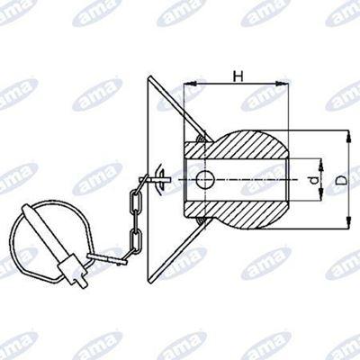 Immagine di Cono guida per agganci inferiori 3/2° categoria  64X72 foro Ø28mm - AMA