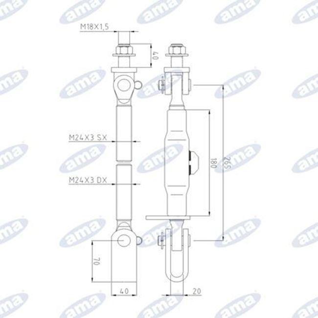 Immagine di Stabilizzatore per bracci inferiori adattabile a LANDINI - AMA