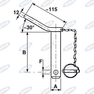 Immagine di Perno in acciaio con maniglia, spina e catena ø 22 x 130 mm - AMA