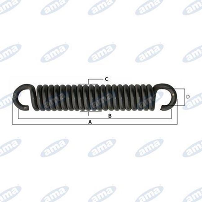 Immagine di Molla per tiller con gancio aperto L= 355 mm con filo 12 mm