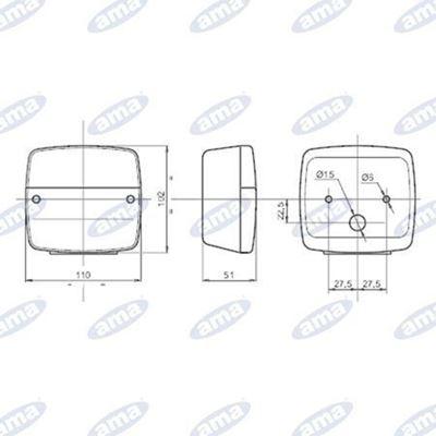 Immagine di Fanale SINISTRO alogeno posteriore 108X103mm - AMA