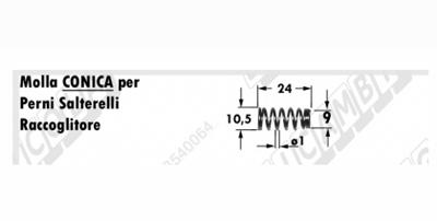 Immagine di Molla a pressione conica L=24 - ø=10,5 / 9 - Filo ø1 - GALLIGNANI