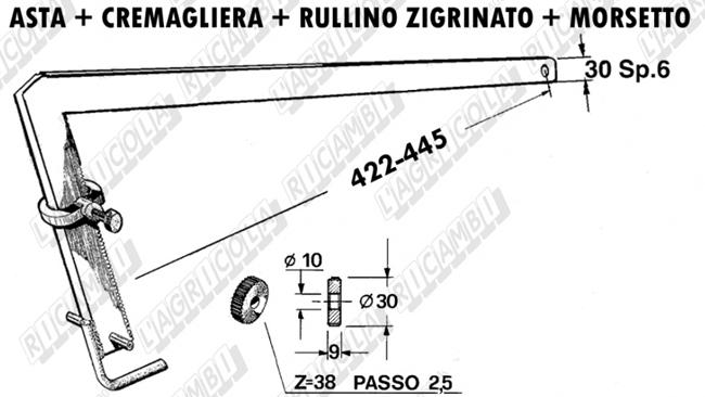 Immagine di Asta+Cremagliera+Rullo+Morsetto - SGORBATI