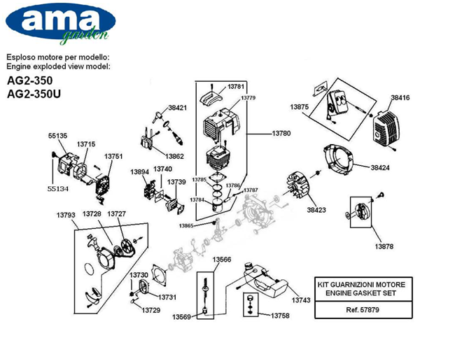Immagine di Segmenti pistone per  33 CC AG-250/AG-250U - Cod. 13785